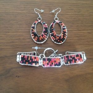 Beaded Earrings and matching bracelet jewelry set